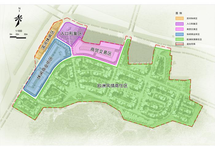 道路交通分析图 总平面图 鸟瞰效果图 滨河路透视效果图 步行街透视